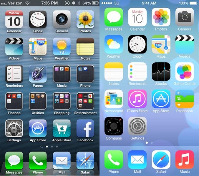 icones smartphone flat design skeuomorphisme